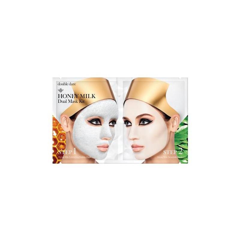 Veido kaukių rinkinys Honey Milk Dual Mask Kit HNMDMASK, rinkinį sudaro: valanti veido kaukė ir atstatanti veido kaukė
