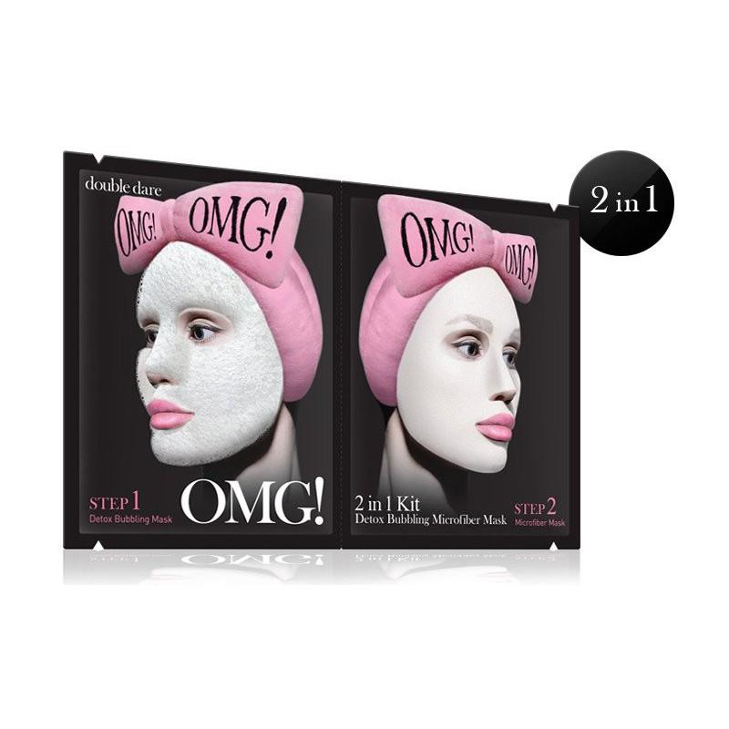 Veido kaukių rinkinys OMG! 2IN1 KIT Detox Bubbling Microfiber Mask OMG-BNMASK,rink.sudaro:detoksikuojanti/valanti ir maitinanti veido kaukės
