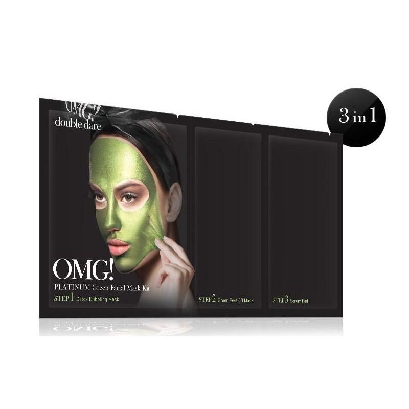 Veido kaukių rinkinys OMG! Platinum Green OMG-PM-G,rinkinį sudaro: detoksikuojanti ir nuplėšiama veido kaukės ir serumu praturtintas padelis