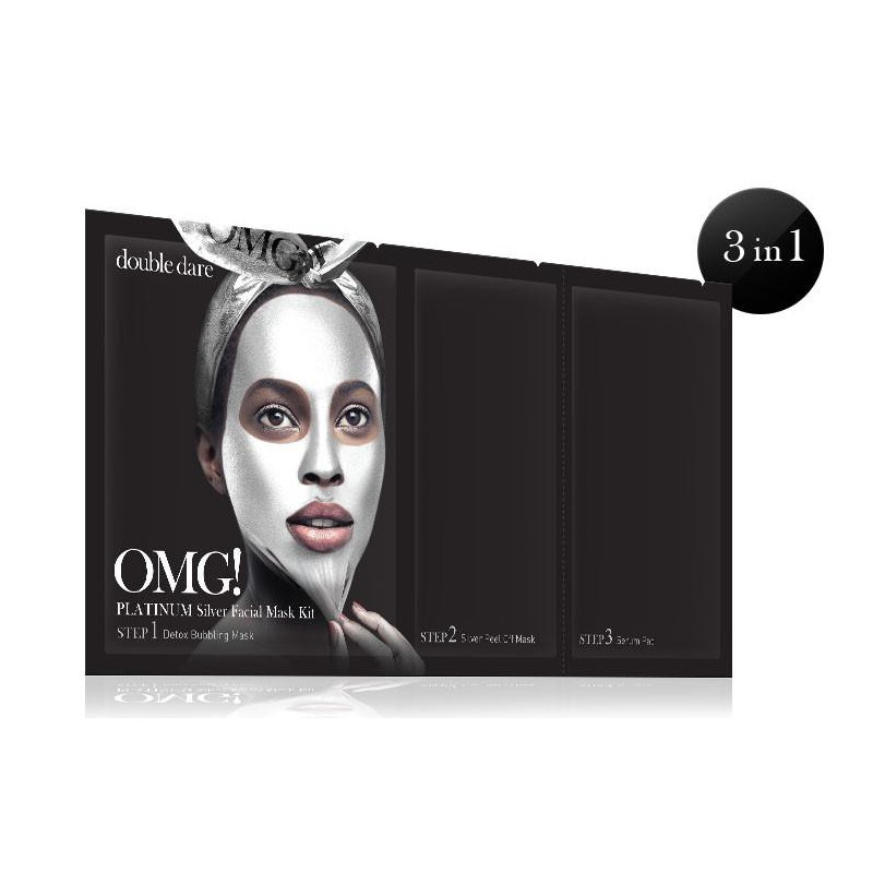 Veido kaukių rinkinys OMG! Platinum Silver PMG-PM-S,rinkinį sudaro:detoksikuojanti ir nuplėšiama veido kaukės ir serumu praturtintas padelis