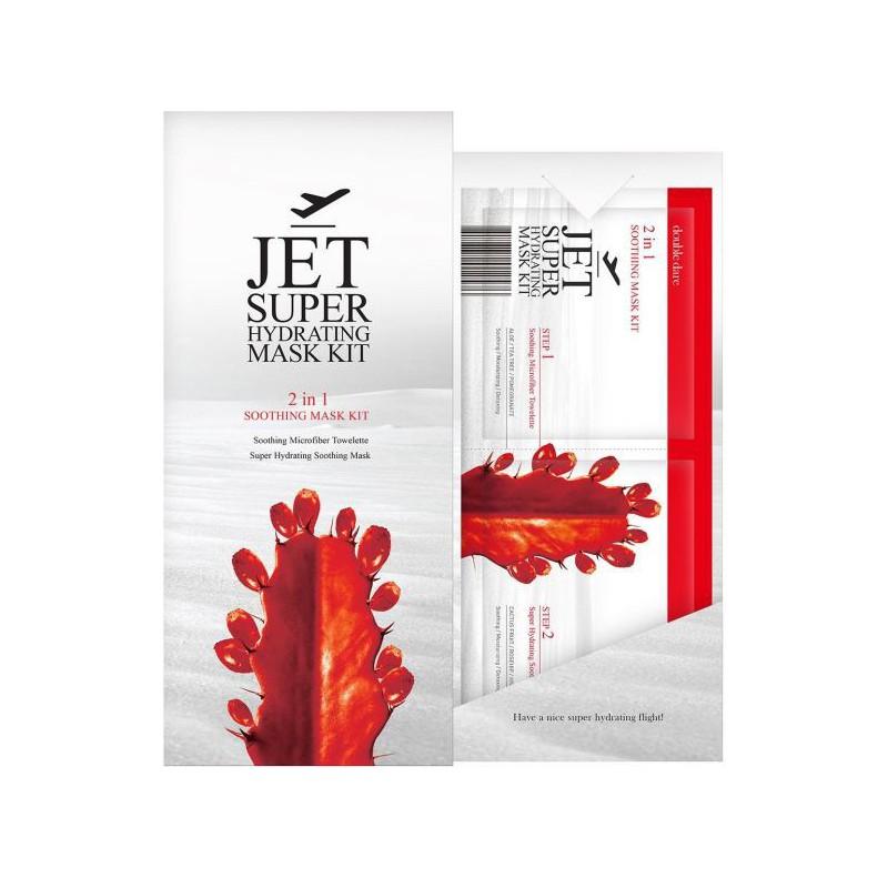 Veido kaukių rink.JET Super Hydrating Mask Kit2IN1 Soothing,rinkinį sudaro: drėkinanti veido kaukė ir odą raminanti mikropluošto servetėlė