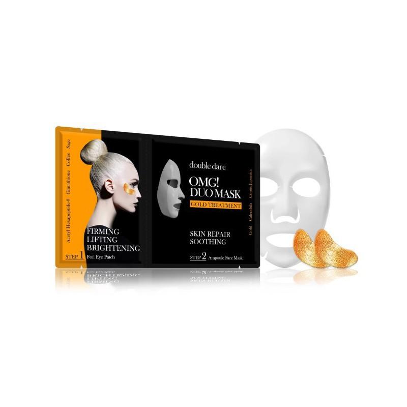 Veido priežiūros priemonių rinkinys OMG! Duo Mask - Gold Theraphy, OMG-DM-G, rinkinį sudaro: paakių pagalvėlės ir veido kaukė